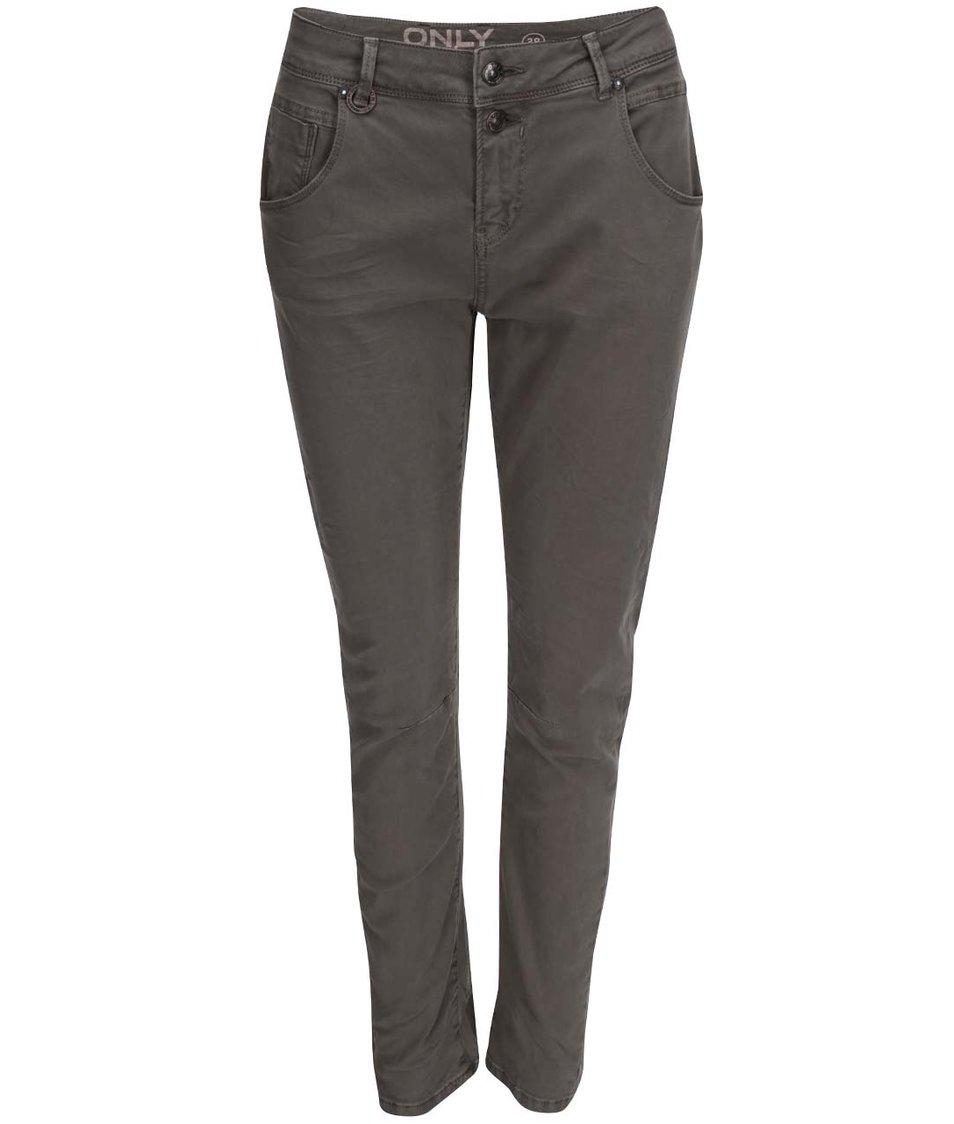 Šedohnědé kalhoty s vyšším pasem ONLY Lise