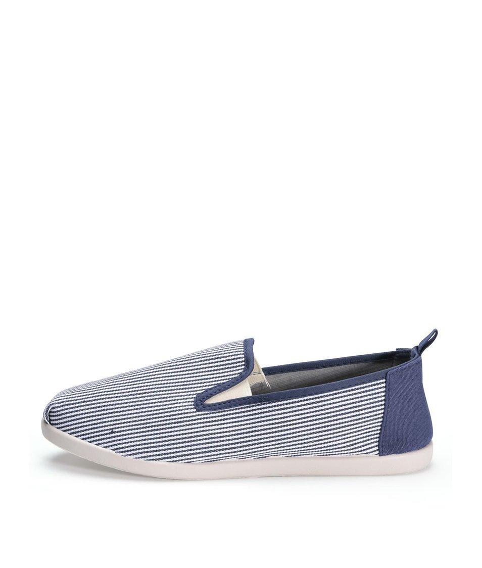 Bílo-modré pruhované loafers D-Struct Lamont