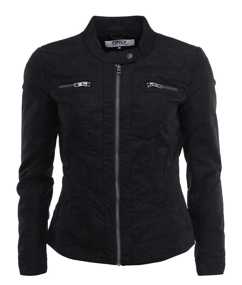 Černá koženková bunda ONLY Biker