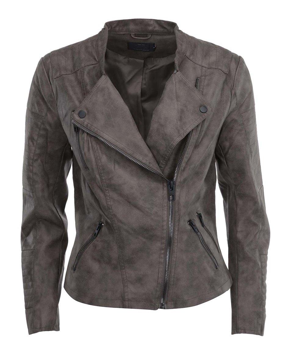 Šedonědá koženková kratší bunda ONLY Biker