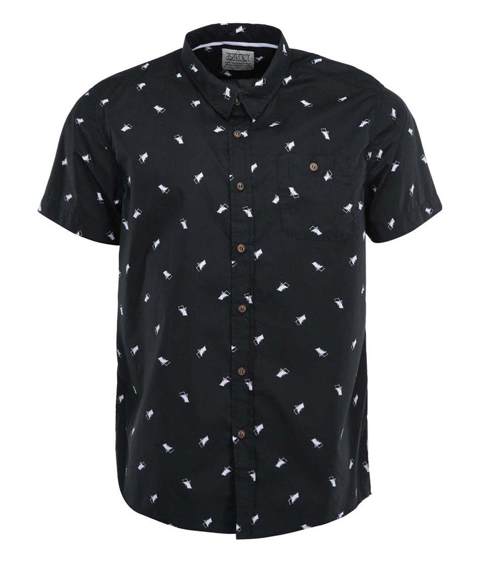 Černá vzorovaná košile s krátkými rukávy D-Struct Provo