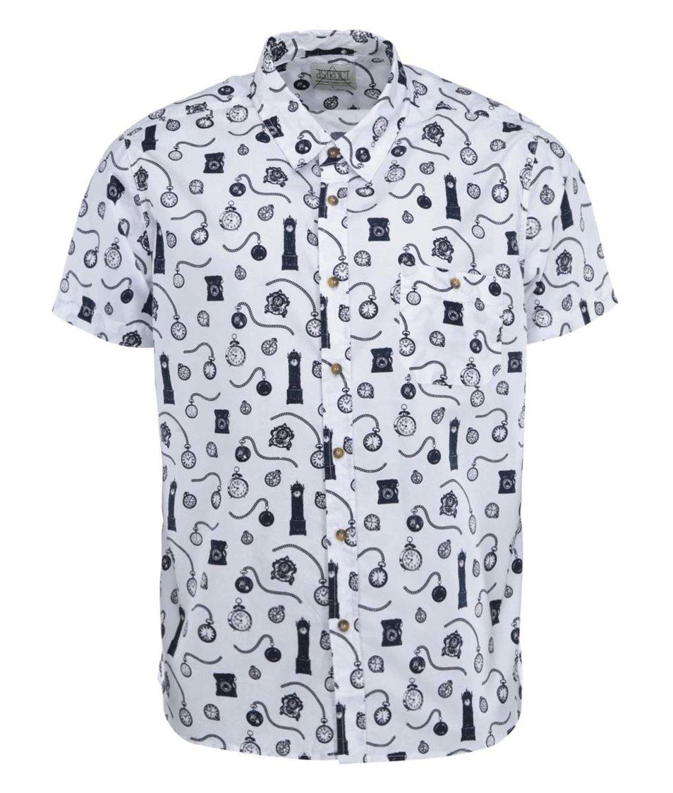 Bílá vzorovaná košile s krátkými rukávy D-Struct Fullerton