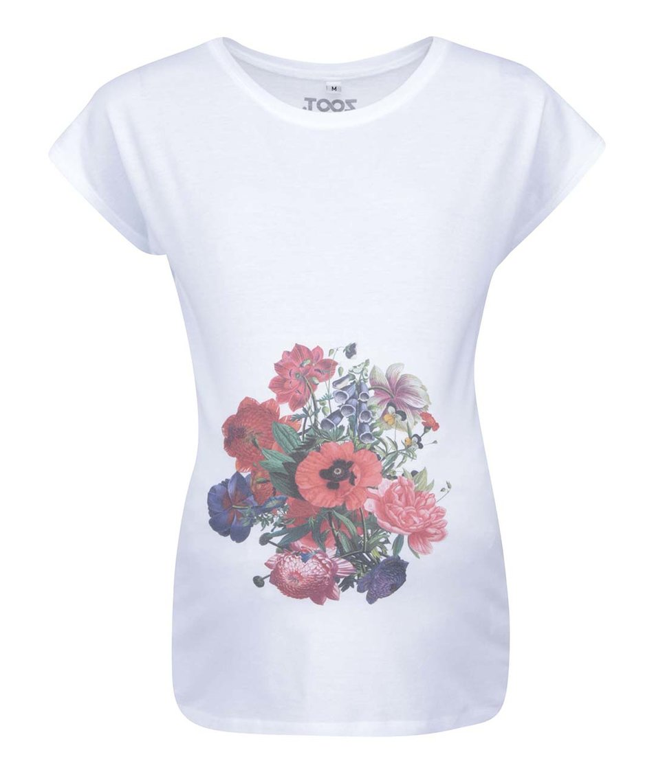 Bílé těhotenské tričko ZOOT Originál Rozkvetlá