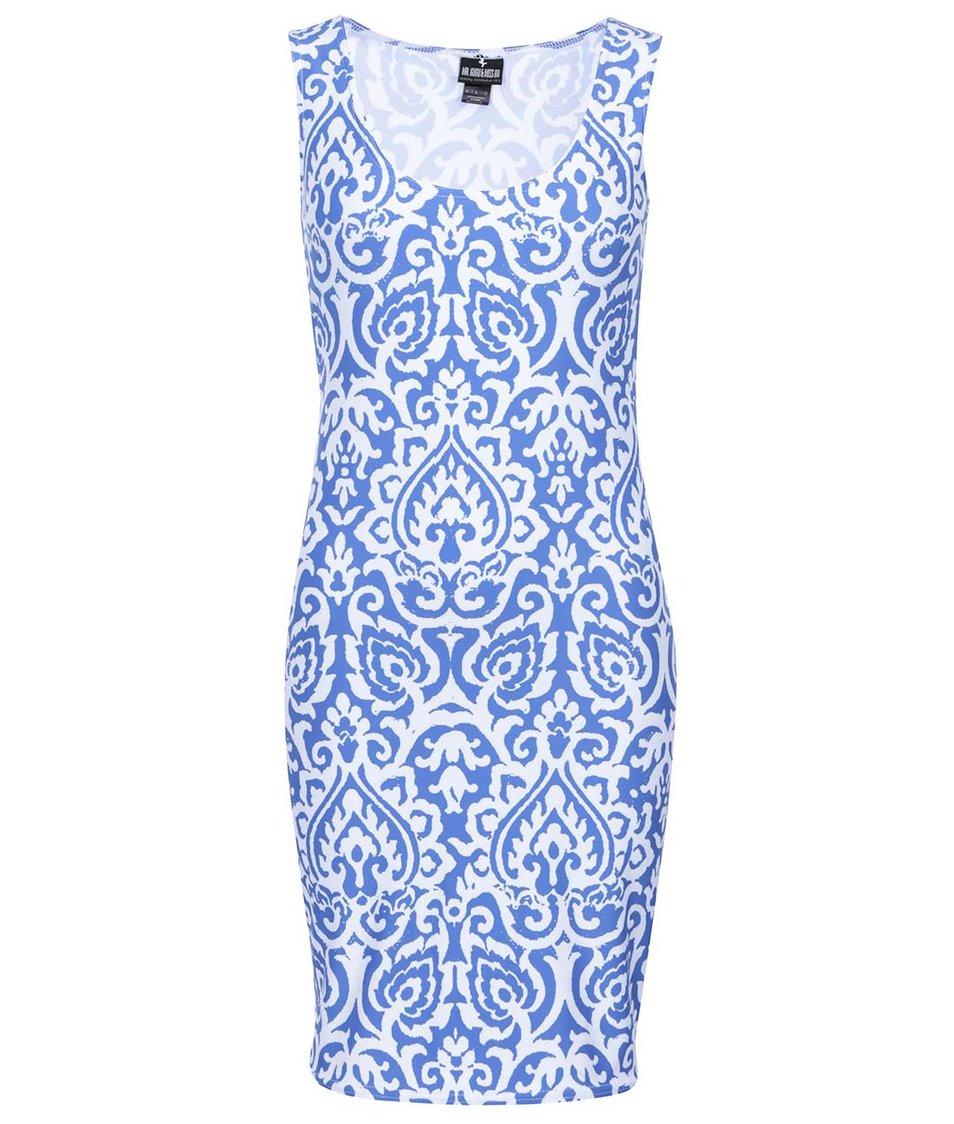 Bílo-modré vzorované šaty Mr. Gugu & Miss Go Blue Pattern