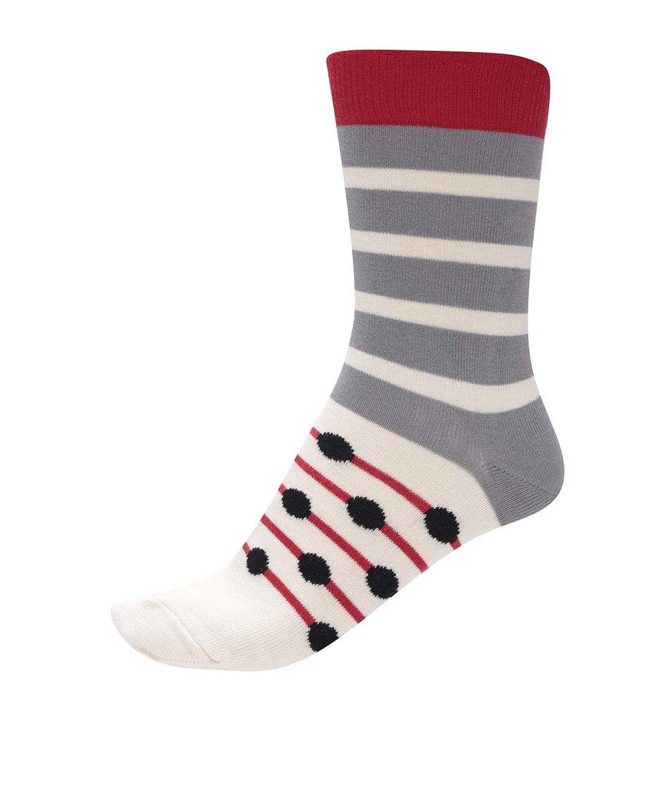 Šedo-béžové unisex pruhované ponožky s barevnými detaily Ballonet Socks Track