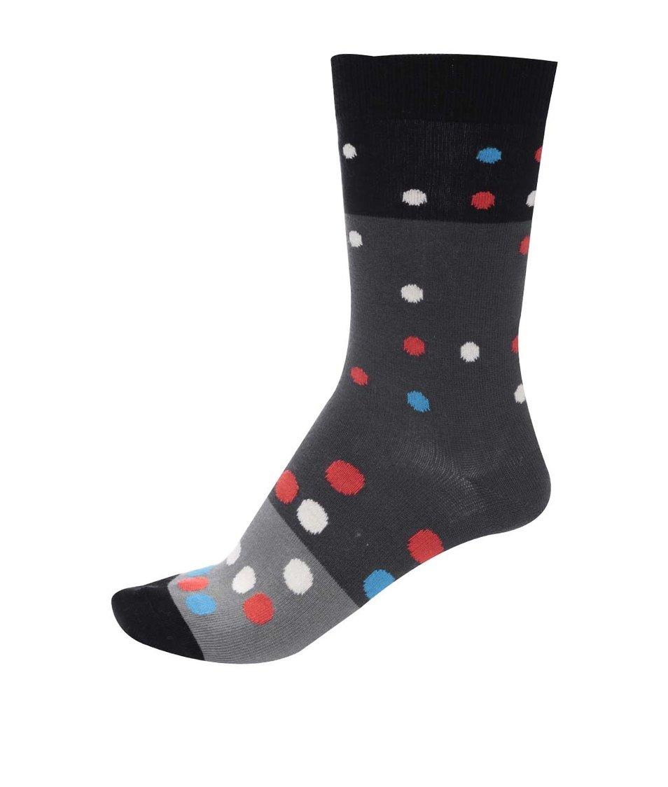 Černo-šedé unisex ponožky s puntíky Ballonet Socks Party Night