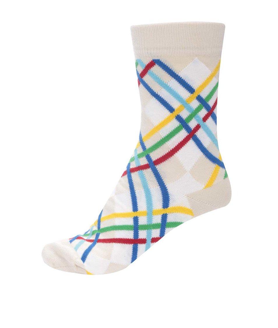 Bílo-béžové unisex ponožky s barevnými proužky Ballonet Socks Ray