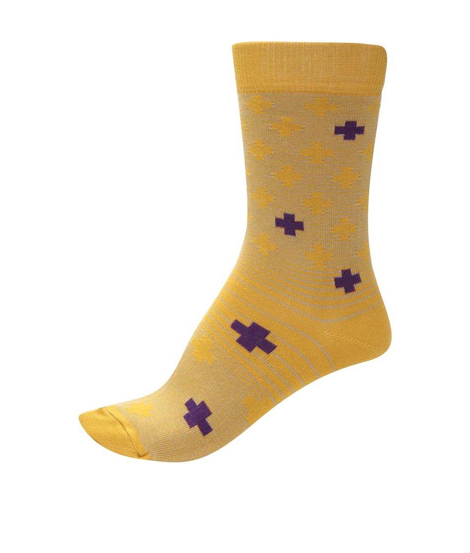 Žluté unisex ponožky s fialovými detaily Ballonet Socks Positive