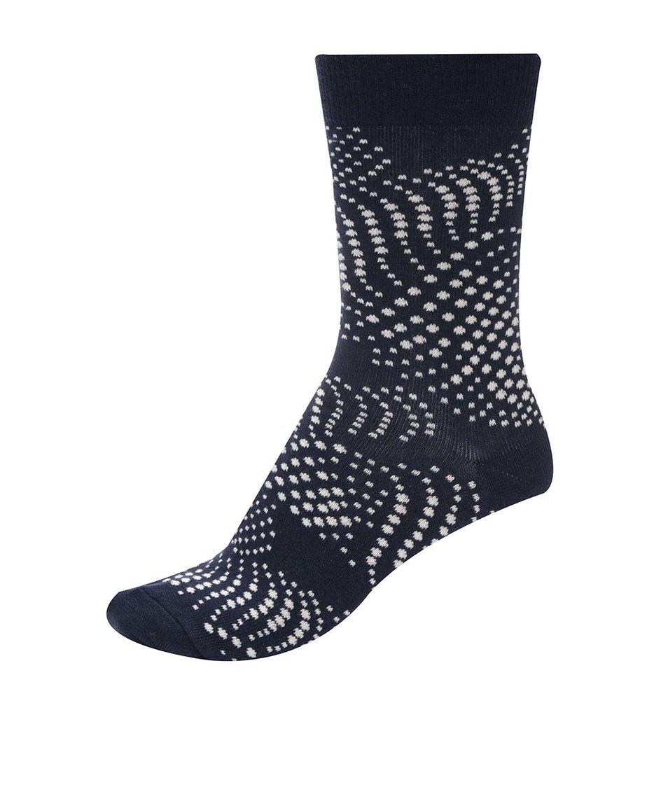 Tmavě modré unisex ponožky s bílým vzorem Ballonet Socks Flow
