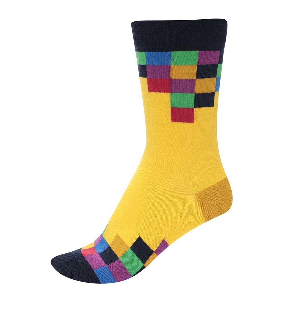 Modro-žluté unisex ponožky s barevnými kostičkami Ballonet Socks TV