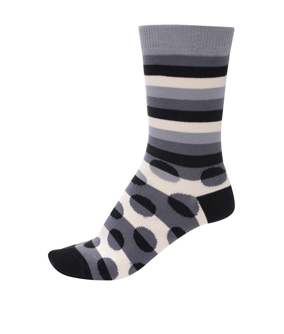Černo-šedé unisex ponožky s pruhy a puntíky Ballonet Socks Luck