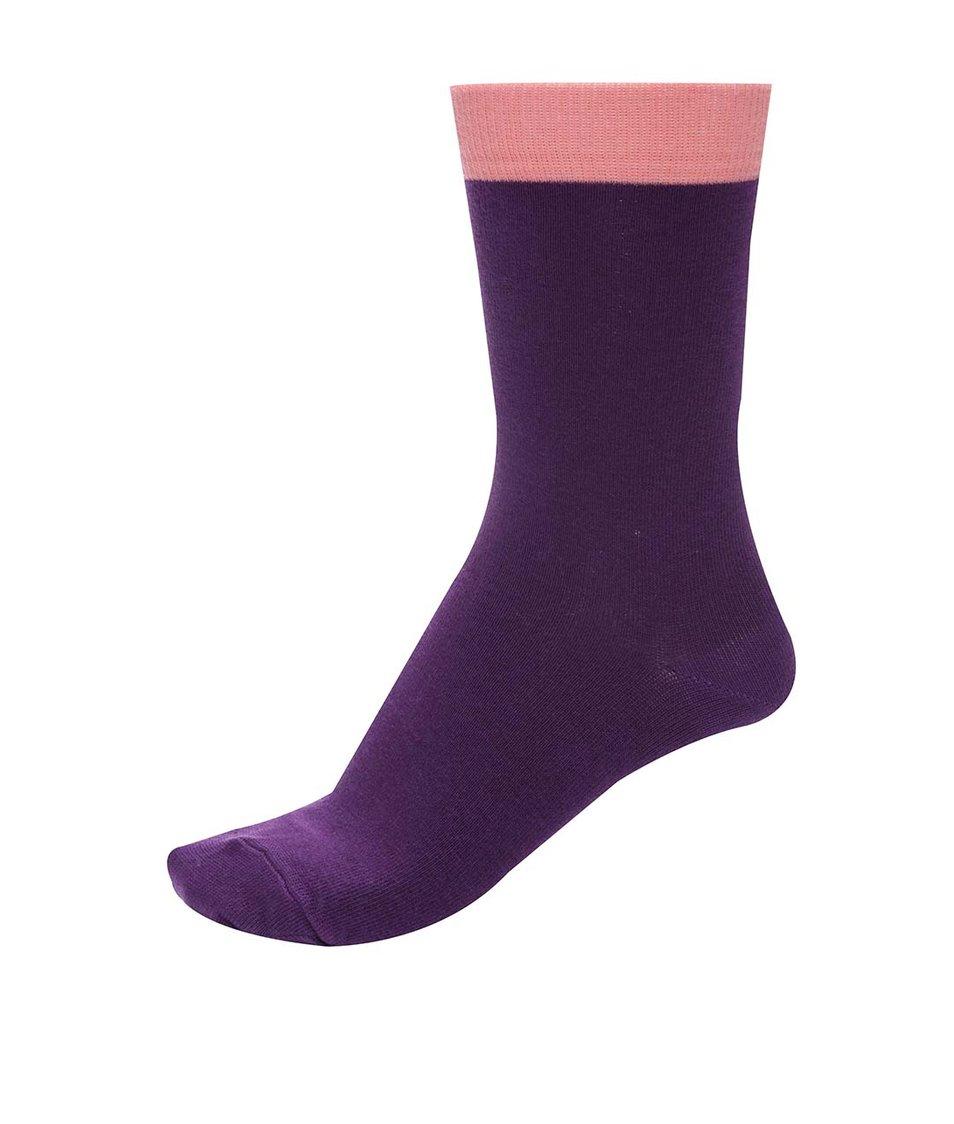 Fialové unisex ponožky s růžovým lemem Ballonet Socks Block Berry
