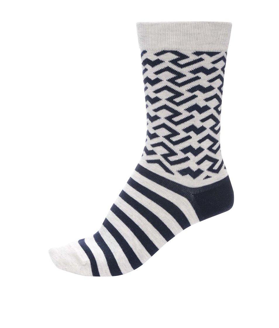 Modro-šedé unisex pruhované ponožky se vzory Ballonet Socks Sand