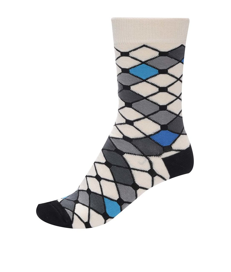 Černo-béžové dámské vzorované ponožky s modrými detaily Ballonet Socks Mesh