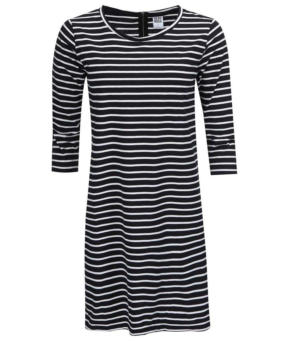 Bílo-černé pruhované šaty s 3/4 rukávem Vero Moda Sky