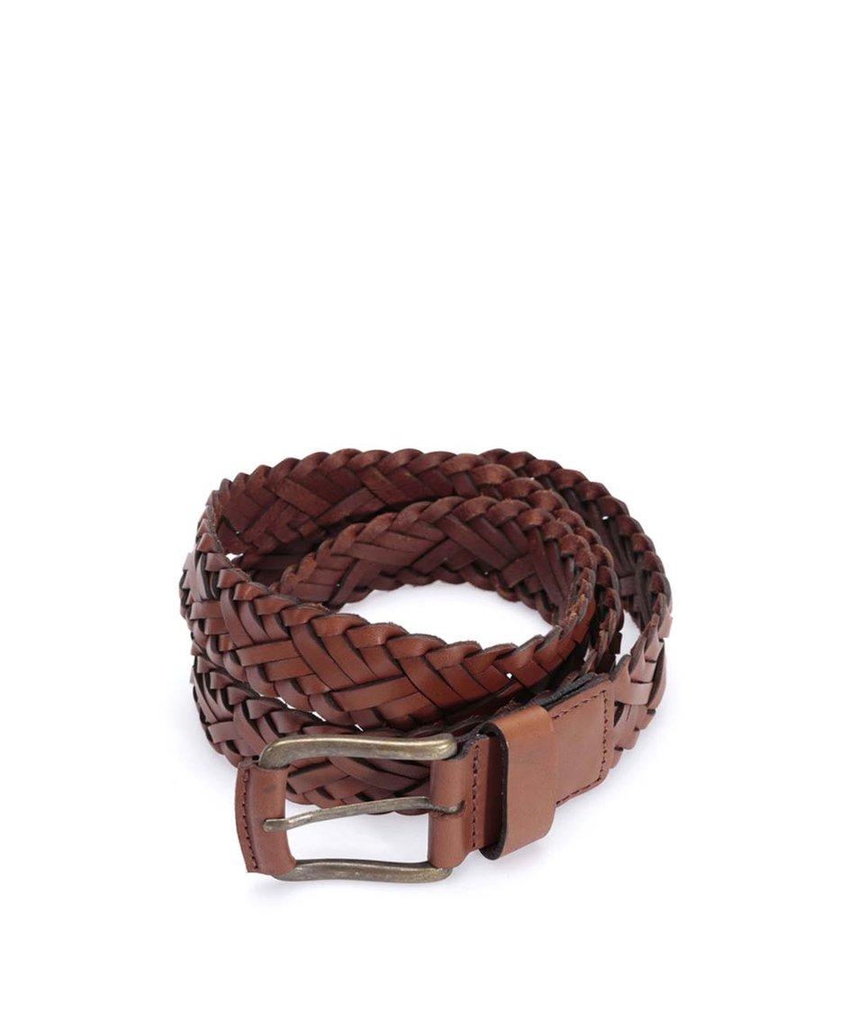Hnědý kožený pletený pásek Jack & Jones Wax