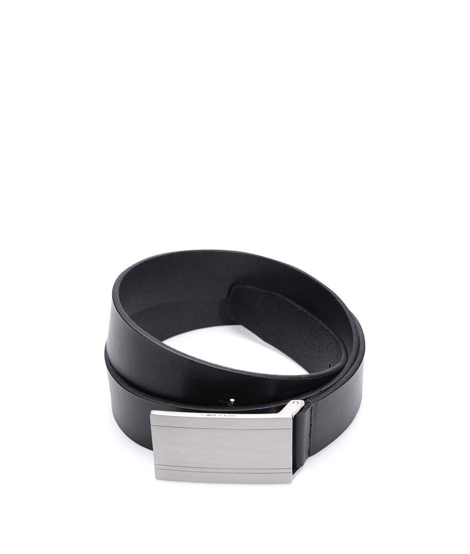 Černý kožený pásek se sponou ve stříbrné barvě Jack & Jones Plate