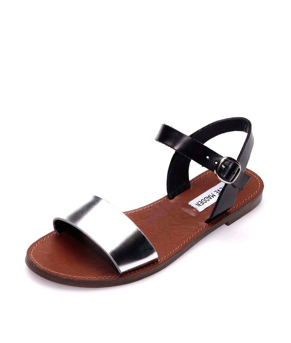 Kožené sandály ve stříbrno-černé barvě Steve Madden Donddi