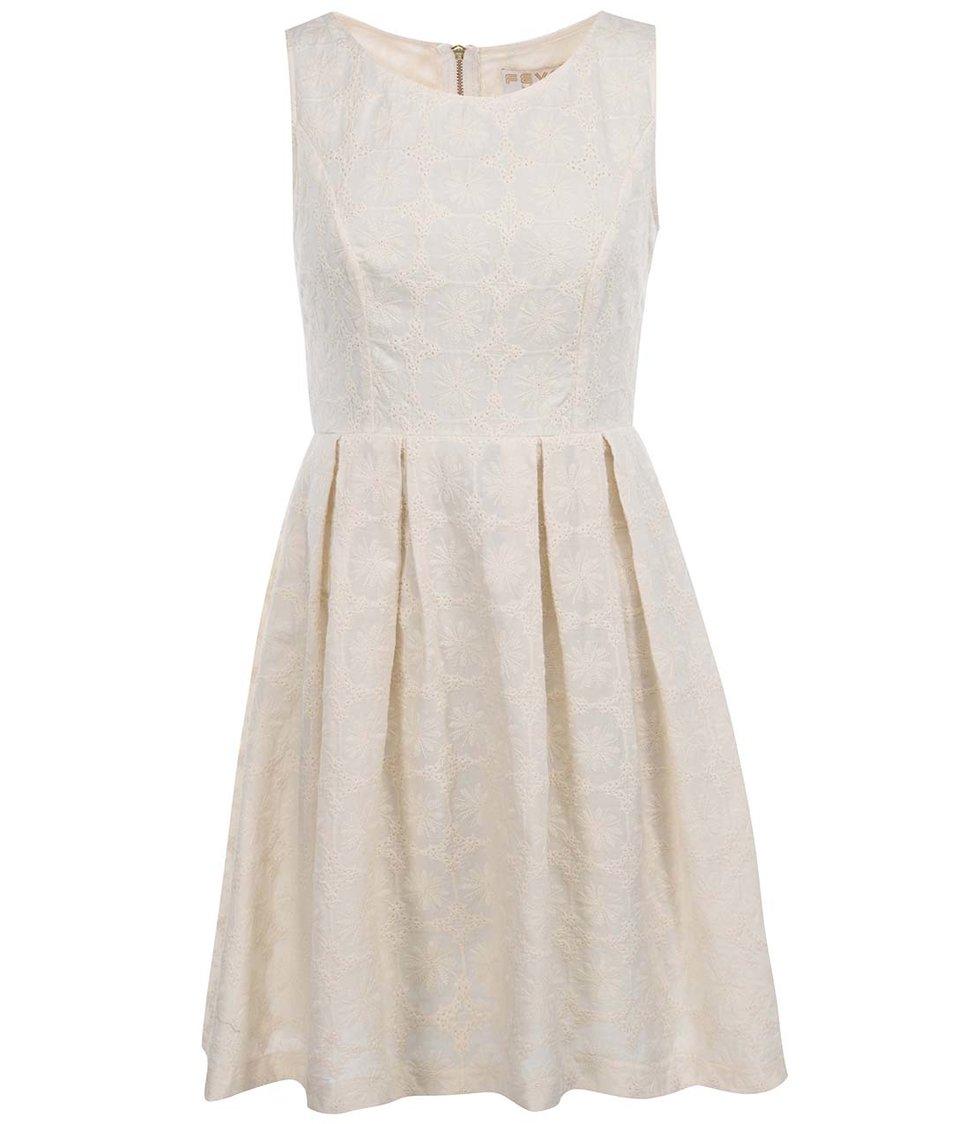 Krémové šaty s výšivkou Fever London Sahara