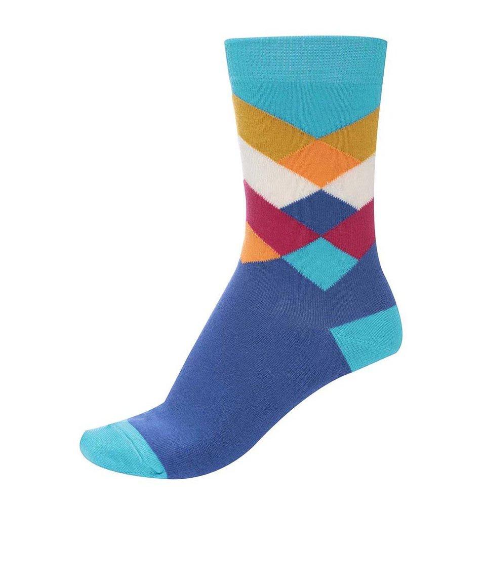 Modré unisex ponožky s barevným vzorem Ballonet Socks Diamond