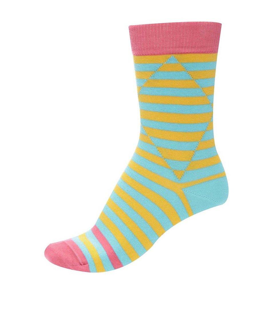 Tyrkysovo-žluté unisex pruhované ponožky s růžovým detailem Ballonet Socks Optic Two