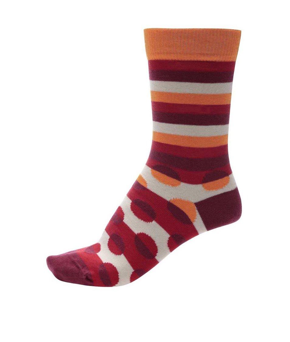 Oranžovo-červené unisex pruhované ponožky s puntíky Ballonet Socks Luck