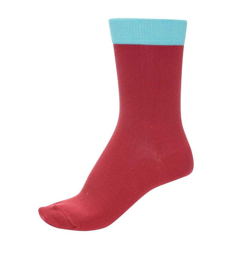 Červené unisex ponožky s tyrkysovým lemem Ballonet Socks Block Love