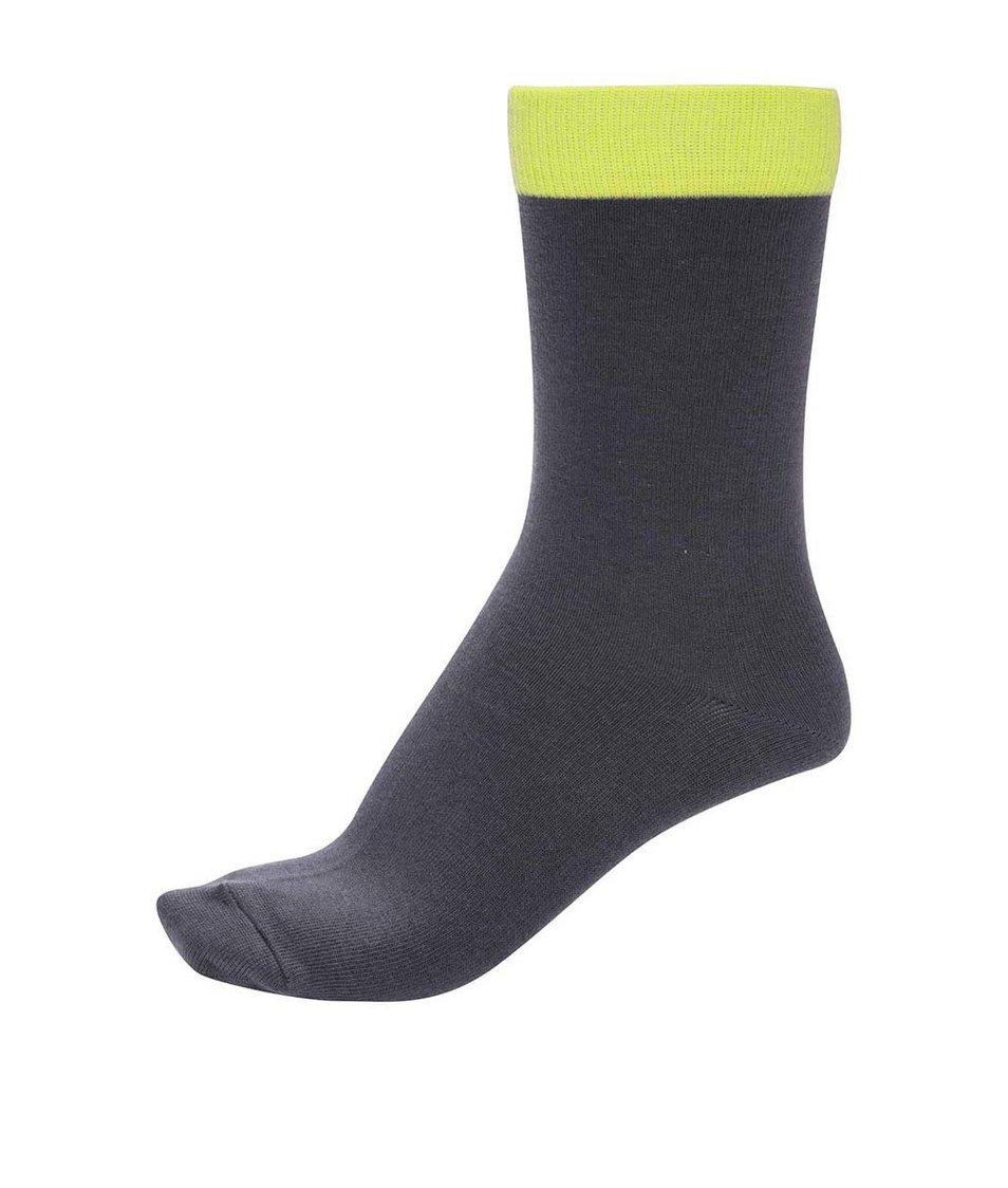 Tmavě šedé unisex ponožky se zeleným lemem Ballonet Socks Block Smoke