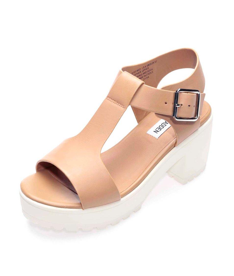 Béžové kožené sandály na platformě Steve Madden Stefano