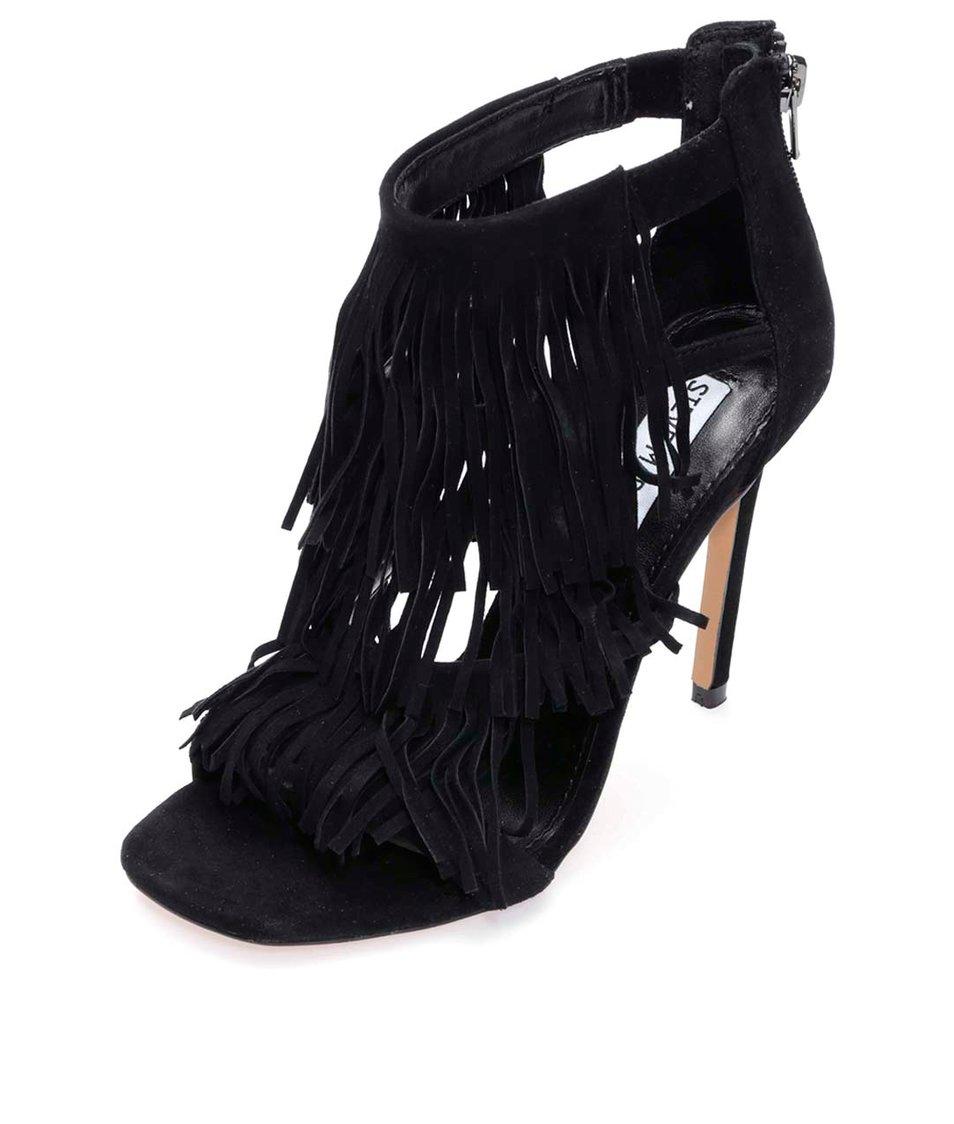 Černé kožené boty na podpatku s třásněmi Steve Madden Fringly