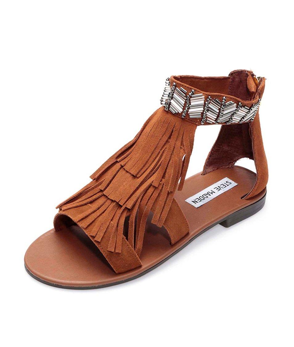 Hnědé kožené sandály s třásněmi Steve Madden Gianni