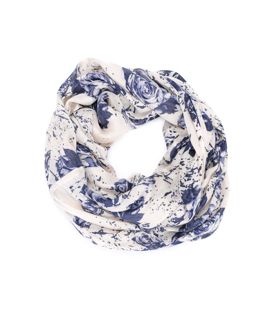 Krémový dutý šátek s květinovým vzorem !Solid Keg