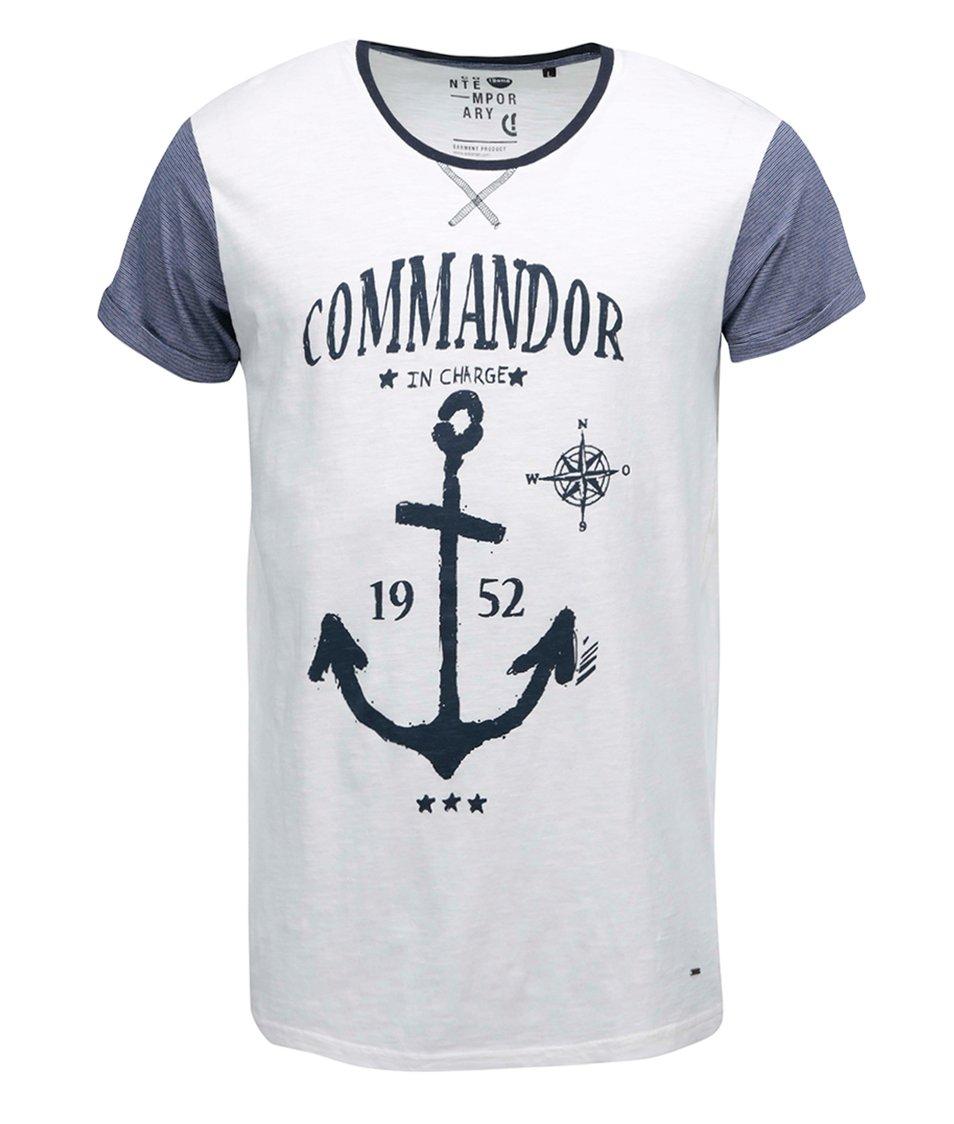 Modro-krémové triko s námořnickým potiskem !Solid Niklas