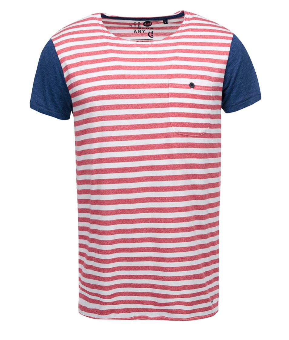Modro-červené pruhované triko !Solid Nimit