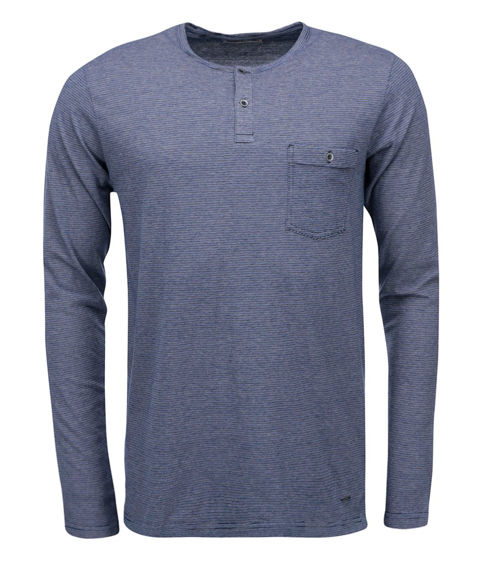Černo-modré pruhované triko s dlouhým rukávem !Solid Nong