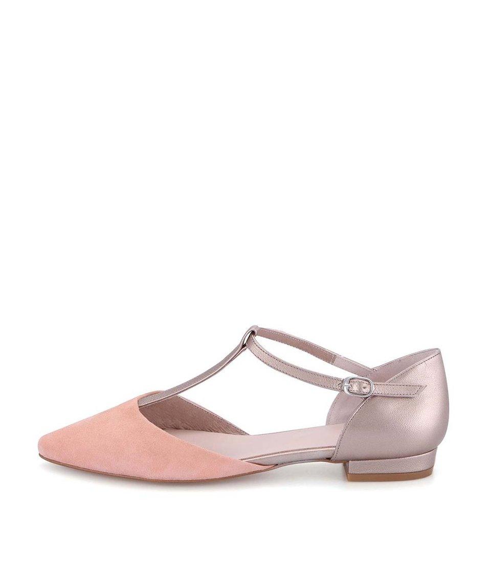 Bronzové kožené sandálky s růžovou špičkou OJJU