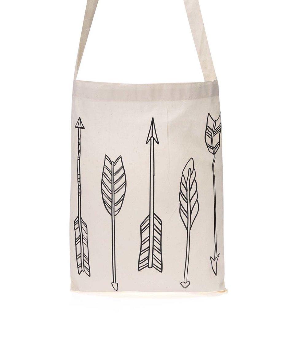 Krémová plátěná taška s potiskem ZOOT Originál Šípy