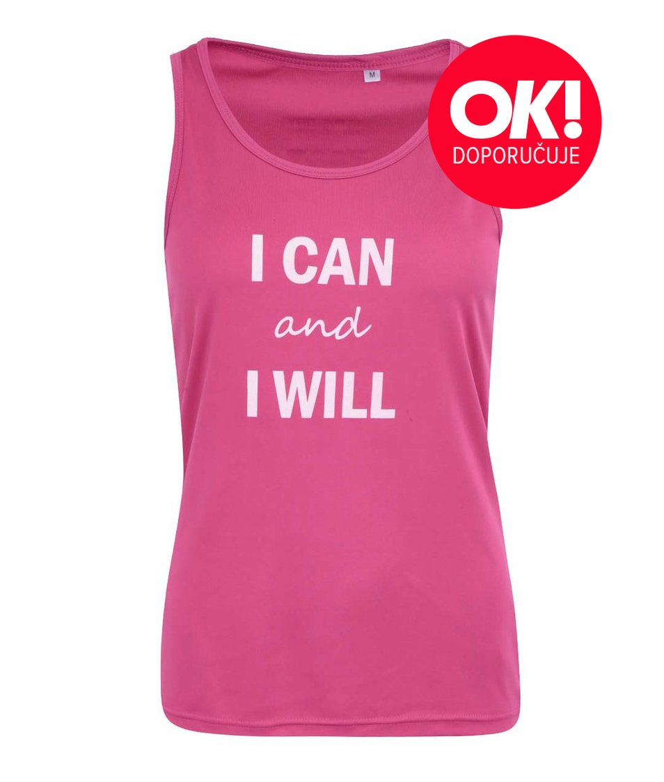 Růžové dámské sportovní tílko ZOOT Originál I can