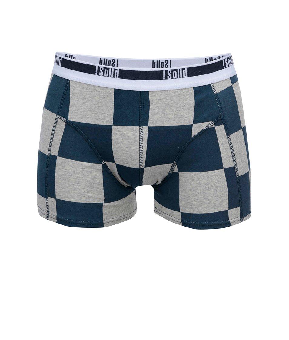Modro-šedé kostkované boxerky !Solid Noian