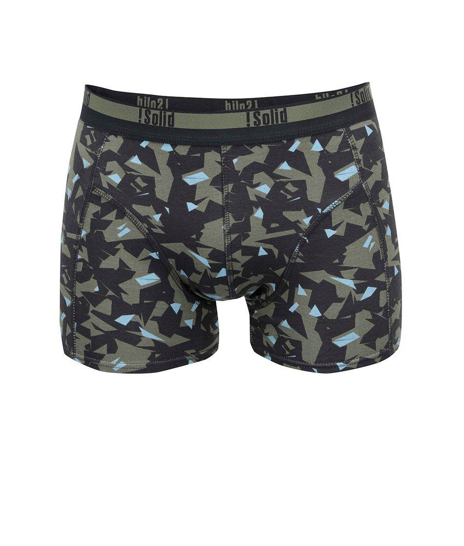 Černo-zelené vzorované boxerky !Solid Mertan