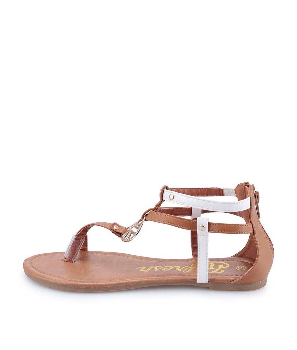 Hnědé sandálky s ozdobnou sponou Refresh