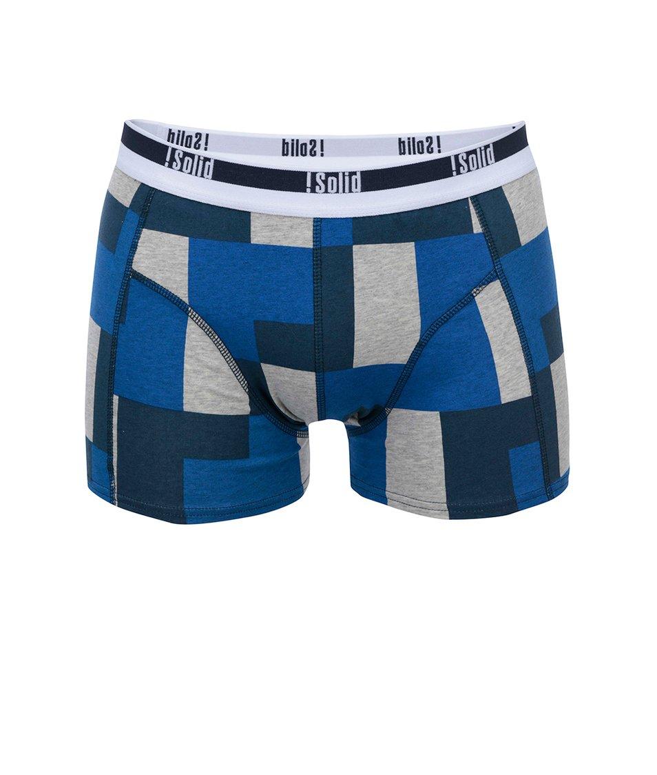 Šedo-modré kostkované boxerky !Solid Noian