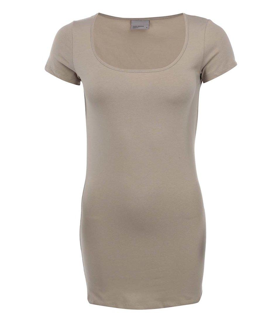 Béžové jednoduché tričko Vero Moda Maxi