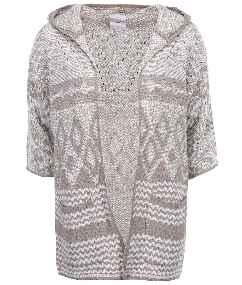 Bílo-béžový vzorovaný cardigan Vero Moda Wood