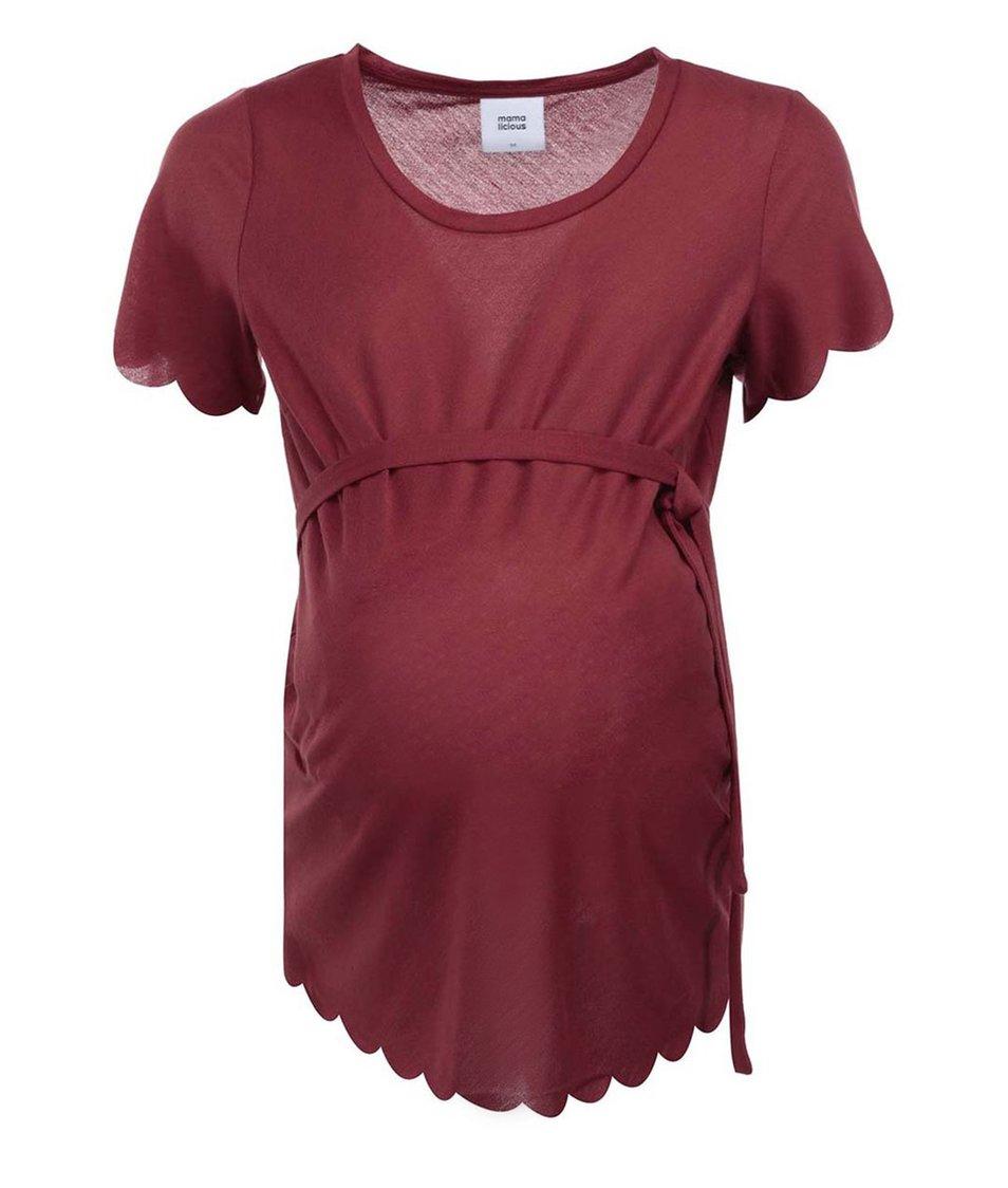 Cihlově červený těhotenský top se zavazováním Mama.licious Flor