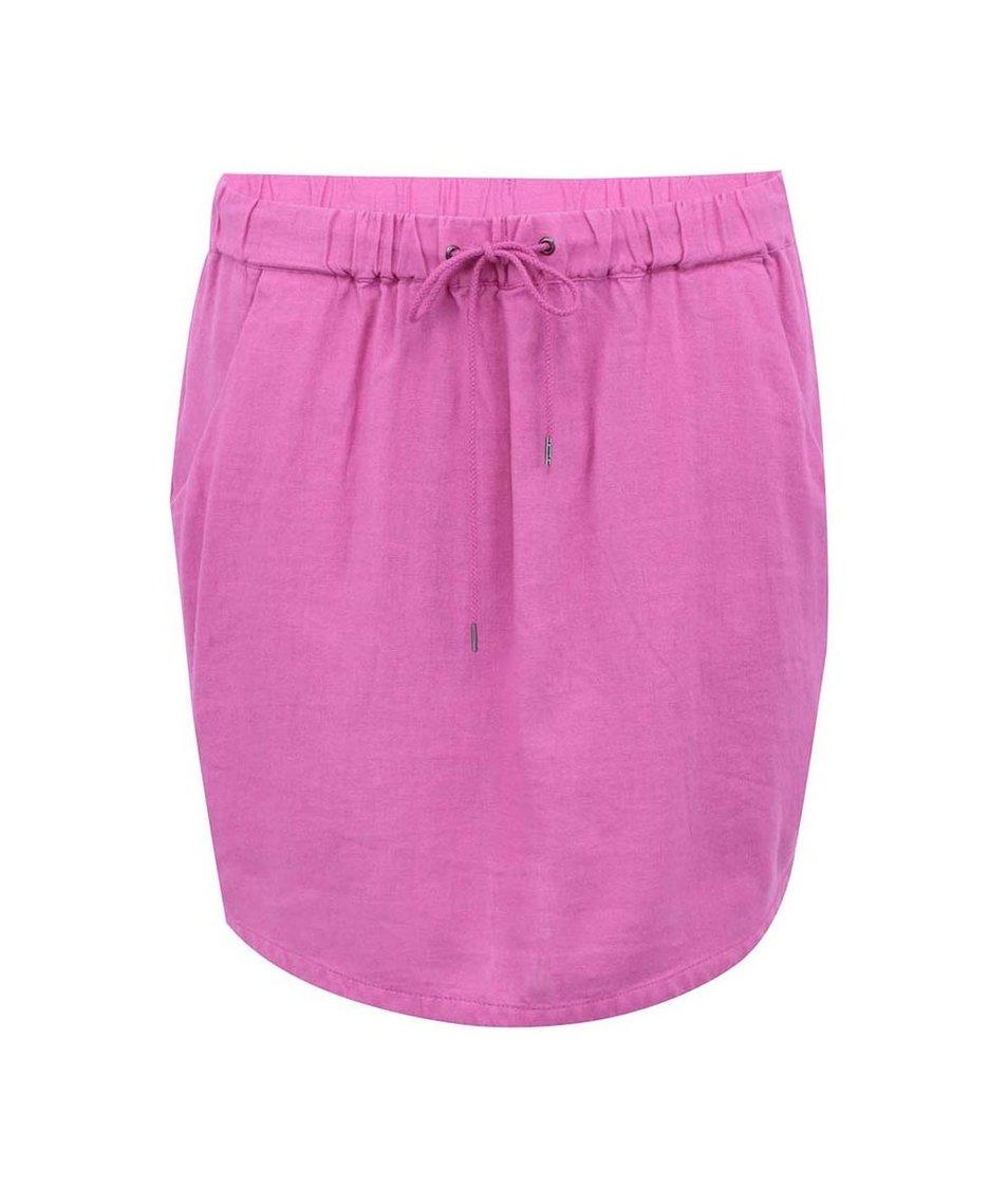 Růžová lněná sukně Vero Moda Just Easy