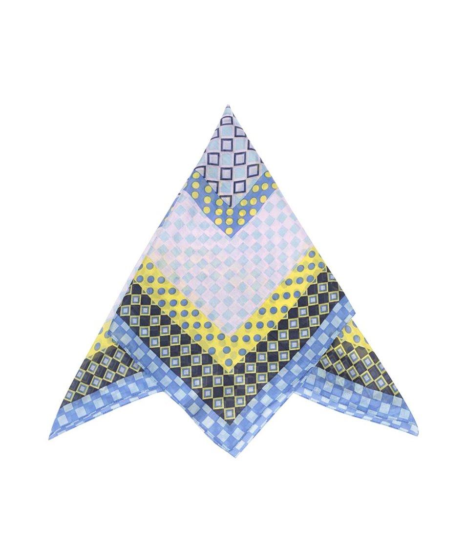 Žluto-modrý vzorovaný šátek Pieces Roxanna