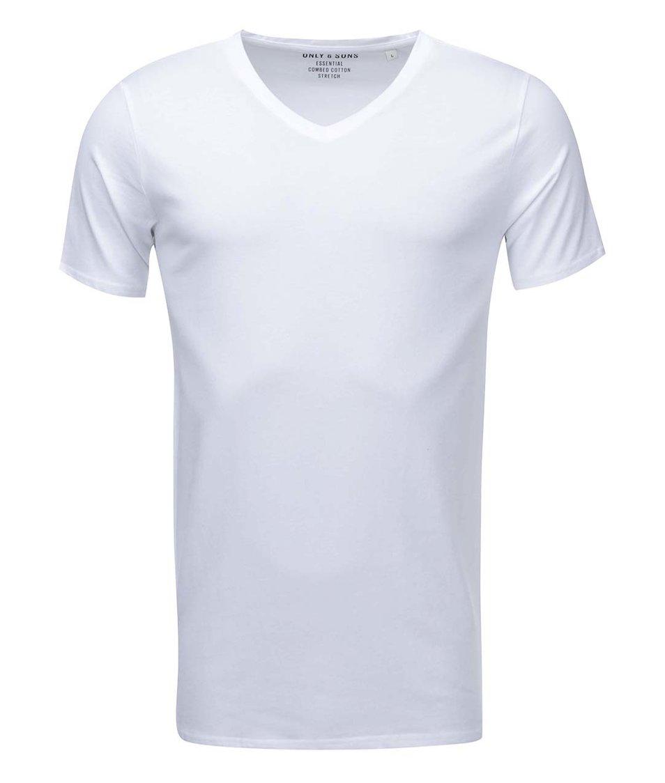 Bílé triko s véčkovým výstřihem ONLY & SONS Basic