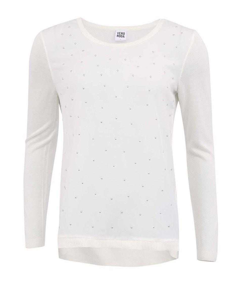Bílý lehký svetr zdobený drobnými kamínky Vero Moda Armida