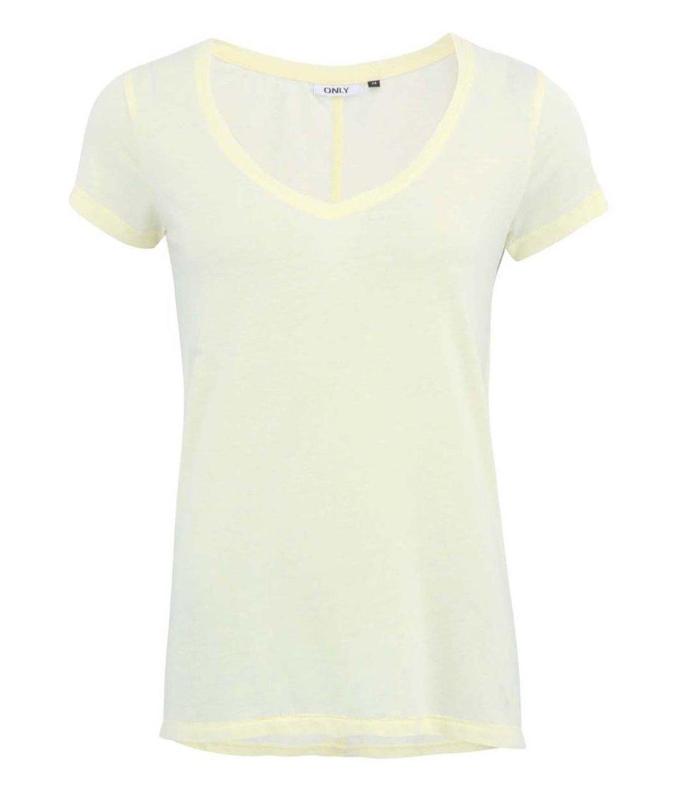 """Žluté tričko s výstřihem do """"V"""" ONLY Hella"""